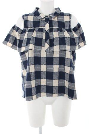 QED London Hemd-Bluse wollweiß-blau Karomuster Casual-Look