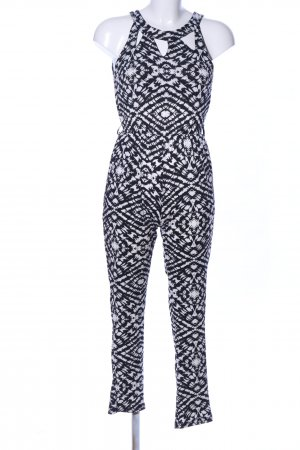 QED London Jumpsuit schwarz-weiß Allover-Druck Casual-Look