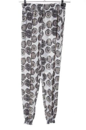 QED London Pallazzobroek wit-zwart gestippeld patroon casual uitstraling