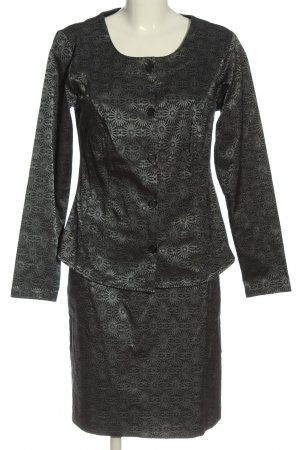 Qiero Ladies' Suit black-silver-colored allover print business style