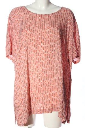 Qiero Kurzarm-Bluse pink-weiß Allover-Druck Casual-Look