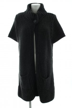 Qiero Short Sleeve Knitted Jacket black cable stitch casual look