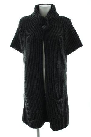 Qiero Cardigan a maniche corte nero punto treccia stile casual