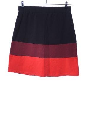 Qiero Stretch rok zwart-rood gestreept patroon elegant