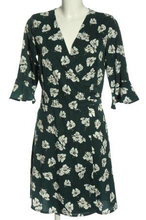 Qontrast Kopertowa sukienka zielony-biały Na całej powierzchni W stylu casual