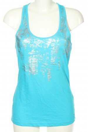 QS by s.Oliver A-Linien Top blau-silberfarben abstraktes Muster Casual-Look