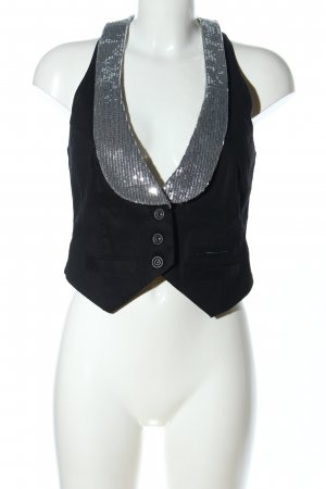 QS by s.Oliver Waistcoat black-silver-colored glittery