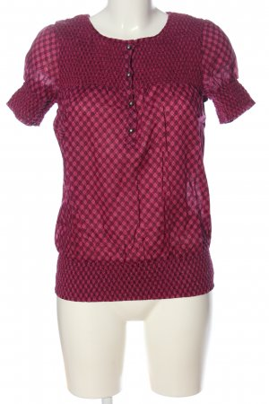QS by s.Oliver Carmen-Bluse pink-braun Allover-Druck Casual-Look
