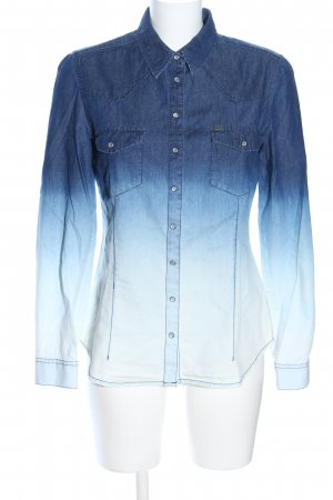 QS by s.Oliver Jeanshemd blau Farbverlauf Casual-Look