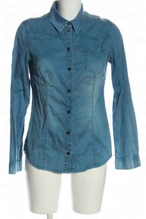 QS by s.Oliver Jeanshemd blau Street-Fashion-Look