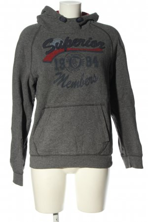 QS by s.Oliver Hooded Sweatshirt light grey printed lettering casual look