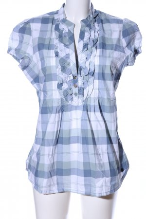 QS by s.Oliver Kurzarm-Bluse blau-weiß Karomuster Casual-Look