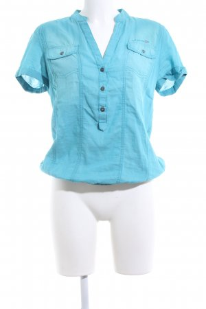 QS by s.Oliver Kurzarm-Bluse türkis Casual-Look