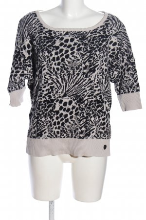 QS by s.Oliver Kurzarmpullover wollweiß-schwarz abstraktes Muster Casual-Look