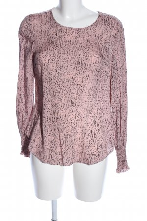 QS by s.Oliver Langarm-Bluse pink-schwarz Allover-Druck Casual-Look