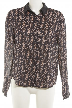 QS by s.Oliver Langarm-Bluse dunkelblau-rosé abstraktes Muster Casual-Look