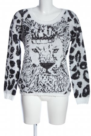 QS by s.Oliver Rundhalspullover weiß-schwarz Animalmuster Casual-Look