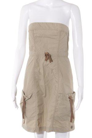 QS by s.Oliver schulterfreies Kleid beige-hellbraun Casual-Look