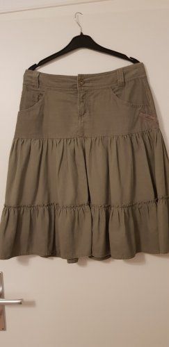 QS by s.Oliver Flounce Skirt green grey-khaki cotton