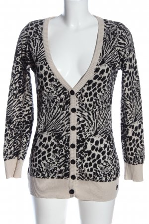 QS by s.Oliver Strick Cardigan creme-schwarz Allover-Druck Casual-Look