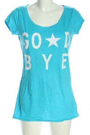 QS by s.Oliver T-Shirt blau-weiß Schriftzug gedruckt Casual-Look