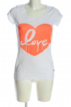 QS by s.Oliver T-Shirt weiß-hellorange Motivdruck Casual-Look