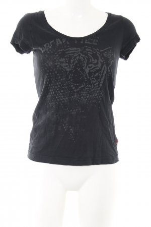 QS by s.Oliver T-Shirt schwarz-hellgrau Motivdruck Casual-Look