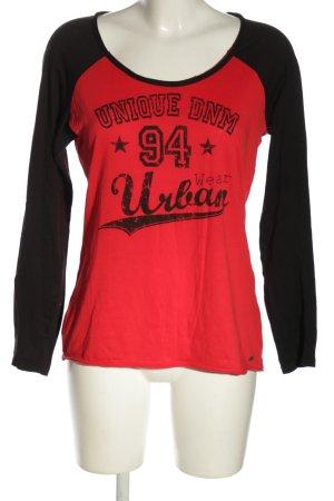 QS by s.Oliver T-Shirt rot-schwarz Schriftzug gedruckt Casual-Look