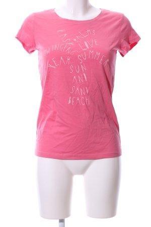 QS by s.Oliver T-Shirt pink-wollweiß Schriftzug gedruckt Casual-Look