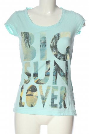 QS by s.Oliver T-Shirt türkis Motivdruck Casual-Look