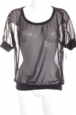 QS by s.Oliver T-Shirt schwarz-silberfarben Transparenz-Optik