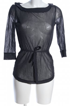 QS by s.Oliver Transparenz-Bluse schwarz-weiß Punktemuster Casual-Look