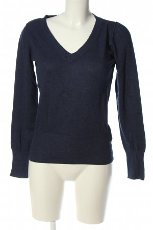 QS by s.Oliver V-Ausschnitt-Pullover blau meliert Casual-Look