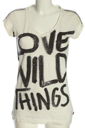 QS by s.Oliver V-Ausschnitt-Shirt weiß-schwarz Schriftzug gedruckt Casual-Look