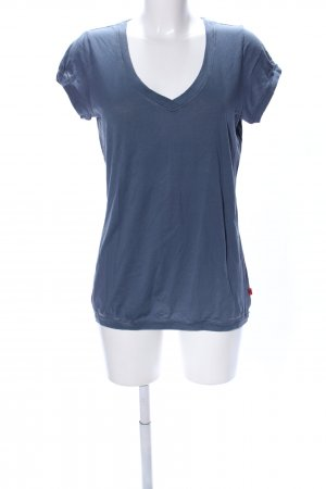 QS by s.Oliver V-Ausschnitt-Shirt blau Casual-Look
