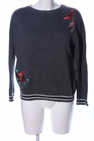 QS by s.Oliver Wollpullover schwarz-rot Blumenmuster Casual-Look