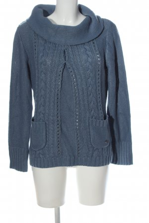 QS by s.Oliver Zopfpullover blau Zopfmuster Casual-Look