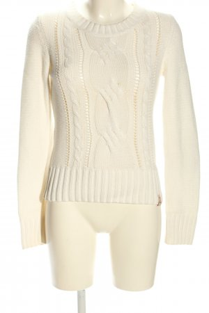 QS by s.Oliver Zopfpullover creme Zopfmuster Casual-Look