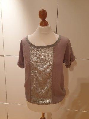 QS Shirt Gr 38 grau Silber Pailletten