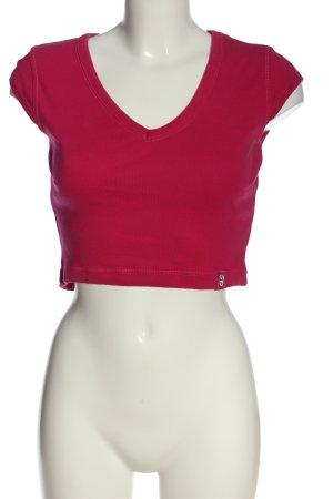 QS Style Camisa recortada rosa look casual