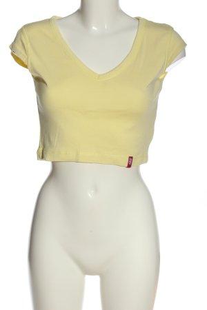 QS Style Camisa recortada amarillo pálido look casual