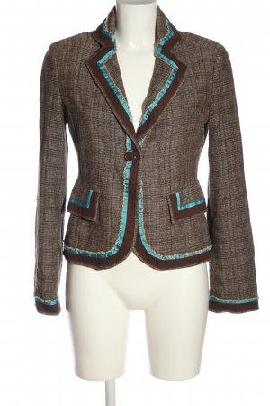 QS Style Kurz-Blazer braun Karomuster Business-Look