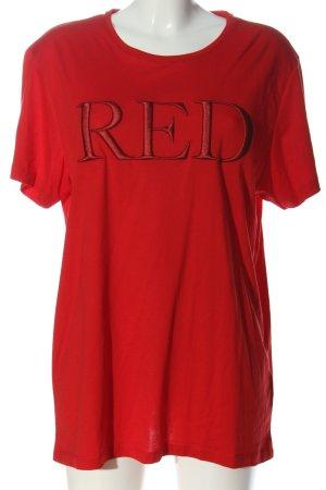 Quantum Courage T-Shirt rot Schriftzug gestickt Casual-Look