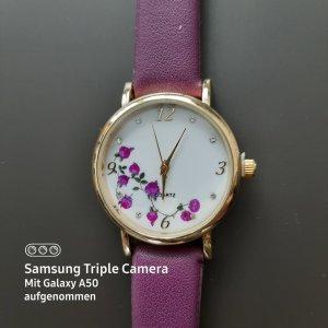 Quartz Zegarek ze skórzanym paskiem niebiesko-fioletowy