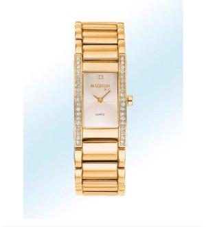 Quarz Damenuhr mit Diamant & Swarovski goldfarben