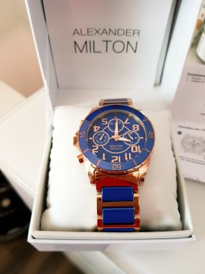 Alexander Milton Reloj analógico color oro-azul