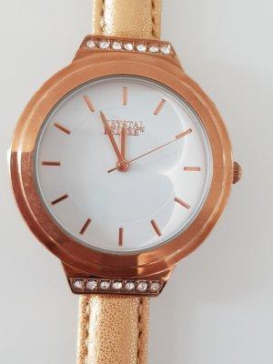 Crystal Deluxe Horloge met lederen riempje roségoud