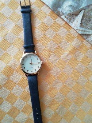 Horloge met lederen riempje donkerblauw