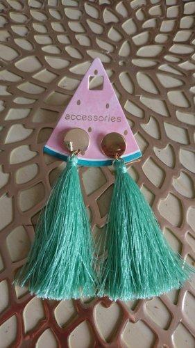 Accessoires Zarcillo color oro-turquesa