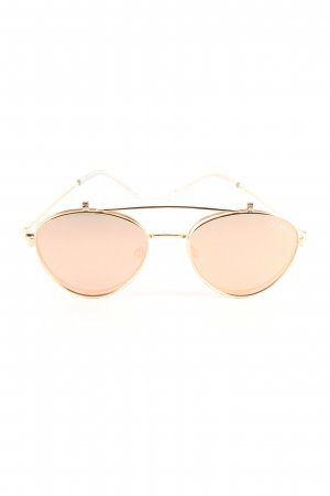 Quay ovale Sonnenbrille goldfarben-creme Casual-Look